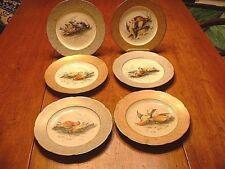 RARE Set of 6 OTT & Brewer Hand Painted Game Bird Plates