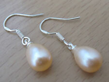 925 STERLING SILVER FRESHWATER PEARL DROP EARRINGS 7-8MM WHITE, PEACH, LAVENDER