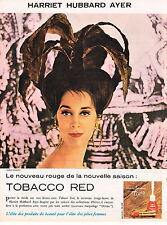 PUBLICITE ADVERTISING  1960   HARRIET  HUBBARD AYER   cosmétiques  TOBACCO RED