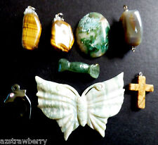 Lot of 8 Tiger Eye Jade Hematite Dolphin Jasper Butterfly Pendants Charms Stones