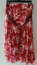 "Laura Scott Lined Floral Crinkle Skirt & Beaded Belt ""Tango Red"" Pink&red&white"