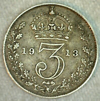 1912 Great Britain Silver Threepence Coin Very Fine VF 3 Pence UK Coin
