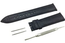 Black Genuine Leather Strap/Band fit Baume&Mercier Watch BUCKLE 18 19 20 21 22mm