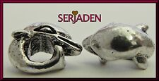 5 Dolphin Spacers Antique Silver Charm 9 x 11 & 5 mm Hole European Jewelry  S117