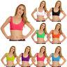 New Womens Plain Neon Crop Vest Top Ladies Short Bandeau Bralet Boobtube UK 8-14