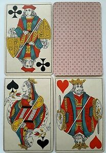 ANTIQUE PLAYING CARDS BELGIAN GENOESE HAND STENCIL COLOURED 36 DECK GILDED 1880