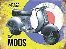 Vespa Scooter, Italian Classic, Mod Target Medium Metal Tin Sign, Picture