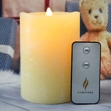 Luminara Ivory Moving Flame Water RIpple Led Rustic Surface Candle With Remote