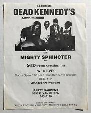 DEAD KENNEDYS Party Gardens PHOENIX 1985 PUNK Concert FLYER Mighty Sphincter STD