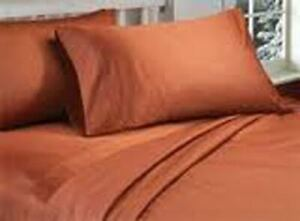 1000 Count 100% Cotton 4 Piece Bed Sheet Set Brick Red Solid Colour All size