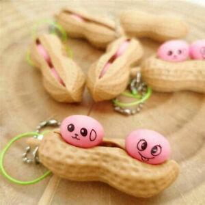 Cute Monkey Nut Peanut Popper Pop Push Squeeze Fidget Sensory Toy Key Chain