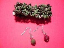 Carpet Bracelet & Round Beaded Dangle Earring Set in Stainless Steel