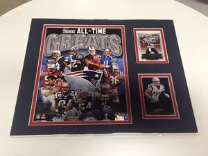 NEW ENGLAND PATIOTS ALL-TIME GREATS 11X14 MATTED PHOTO WITH 2 CARDS