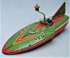 Vintage Tin Toy Boat U27 Hydroplane Wind Up Crank
