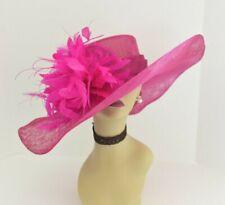 M58(Fuschia)Kentucky Derby Church Wedding Royal Ascot Wide Brim Sinamay Hat