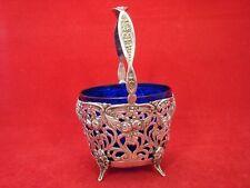 schöner Praliné Korb mit Glaseinsatz aus Silber 800 Blumen Dekor