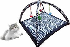 Cat Activity Center with Hanging Toy Balls, Mice & More - Helps Cats Get & Stay