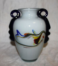 White Art Glass vase swirl design cobalt blue handles