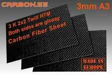 Rea Carbon Fiber Sheet Plate Panel 3mm A3 3K