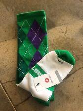 NEW CASTELLI Rosso Corsa Socks S/M Green Purple Argyle