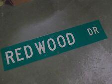 """Vintage Original REDWOOD DR Street Sign 42"""" X 9"""" White on Green"""