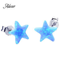 Luxury Cute Blue Fire Opal Star Cut Stud Earring 925 Sterling Silver Jewelry