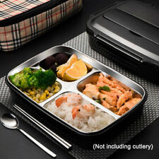 Thermal Bento Insulated Lunch Box Food Container W/4 Compartment Stainless Steel