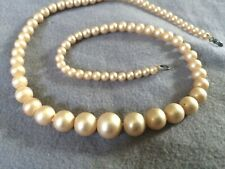 """Vintage Pearl Necklace Very Classy ivory cream 16.75"""" Imitation Faux"""