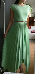 Elegantes Damen Abendkleid Mint Plissee Gefaltet Asymmetrisch Zipfel Kleid S/36