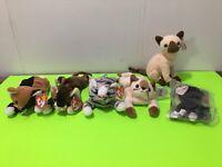 Set of 6 Ty CATS LOT Original Beanie Babies Prance, Pounce, Chip, Snip, Siam ZIP