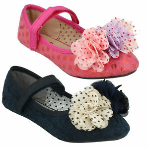GIRLS FLORAL NAVY FUCHSIA PINK STRAP SMART EVERYDAY FLAT CUTIE SHOES H2R374