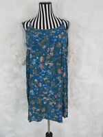 Umgee Teal Floral Cold Shoulder Lace Sleeve Boho Dress Tunic Size S