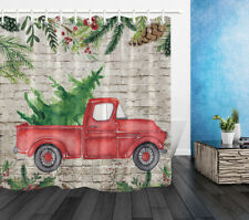 Watercolor Christmas Tree Red Truck Brick Wall Waterproof Fabric Shower Curtain