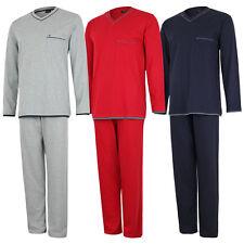 Seidensticker Herren Pyjama lang, Schlafanzug, V-Ausschnitt, 100% Baumwolle