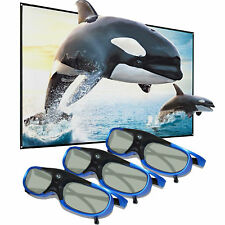 3x Active Shutter 3D Glasses for Acer BenQ Optoma DLP Projector USB Rechargeable