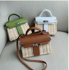 Summer Womens Luxury Faux Leather  Straw Rattan Mini Bag Basket Shoulder Bags Sz
