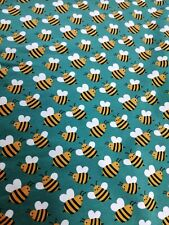 cotton jersey fabric stretch half metre 50cm Bees on teal