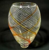 RETICELLO HAND BLOWN GLASS VASE, DIRWOOD, GOLD RED ORANGE AQUAMARINE PURPLE MORE