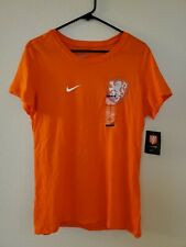 Vintage Women's Nike Orange T-shirt Netherlands Soccer Team Size L Slim Fit NEW