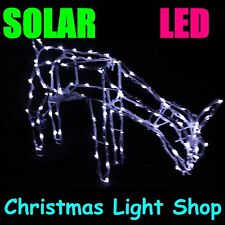 Solar 100 White LED Metal Deer 3D FEEDING Reindeer Outdoor Christmas Xmas Lights