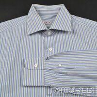 ISAIA White Blue Gray Striped 100% Cotton Mens Luxury Dress Shirt - 16