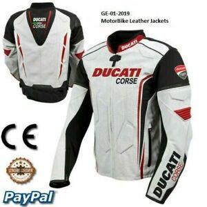 Men Ducati motorcycle motorbike leather racing jacket