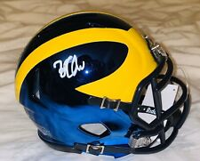 ZACH CHARBONNET SIGNED MICHIGAN WOLVERINES CHROME MINI HELMET AUTOGRAPH!
