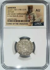 Levon I Armenia NGC AU Silver Tram Medieval Knights Templar Crusader Cross Coin