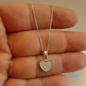 HEART DANGLING NECKLACE PENDANT W/ LAB DIAMONDS / 925 STERLING SILVER / 18''