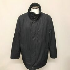 Hugo Boss Men's Casual Zip Up Coat Size 46R Black Knit Collar Mid Length 251186