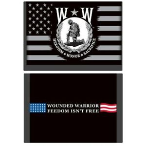 """WOUNDED WARRIOR WALLET, HEROISM HONOR SACRIFICE Freedom, Nylon Wallet, 3.5"""" x 5"""""""