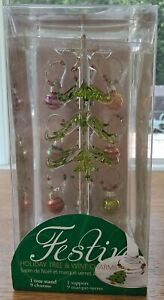 LSArts Glass Christmas Tree with 9 Ornament Wine Charms