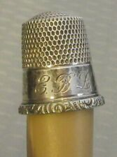 antique Simons STERLING SILVER THIMBLE small 7 monogrammed band EBLP