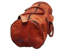 "24"" Men's genuine Leather large vintage duffle travel gym weekend overnight bag"